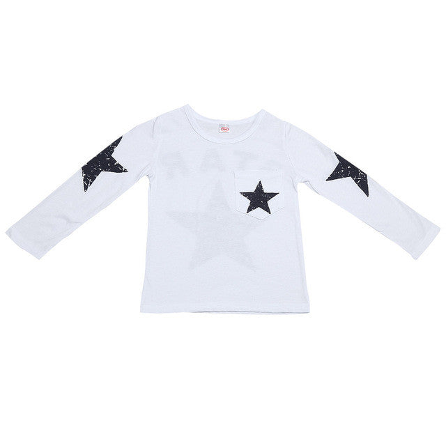 2017 Fashion Kids Boy Toddler Baby Shirts Star Pattern Printed Long Sleeve Tops T-shirt Spring Children Outfits Clothing