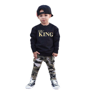 2017 Fashion Summer Children Comfy Kids Clothes Newborn Infant Baby Boy Letter T shirt Tops Camouflage Pants Outfits Clothes Set