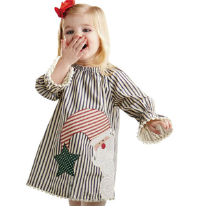2017 New Christmas Santa Claus Kids Baby Girls Clothes Tops Tutu Dress Striped Princess Dress