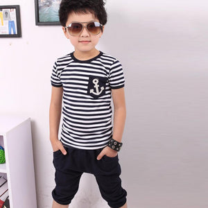 New fashion kids Summer Children Short Sleeve Clothing Boy Navy Striped Cotton T-shirt + Pants Suits sets for 2-7Y