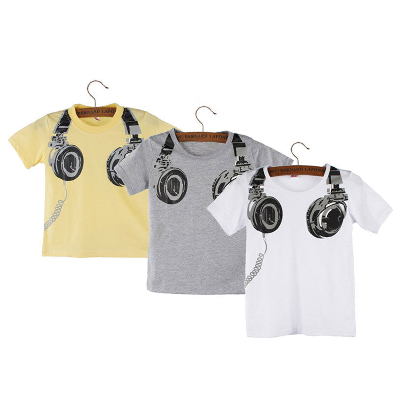 Summer Children's T-shirt for Boys Headphone Pattern Short Sleeve Children's T-shirts Cotton Tops Clothes Infantis