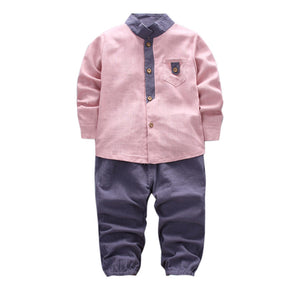 2pcs Toddler Baby Boys Kids Shirt Tops+Long Pants Clothes Gentleman Outfits Set Children Clothing 1-4Years