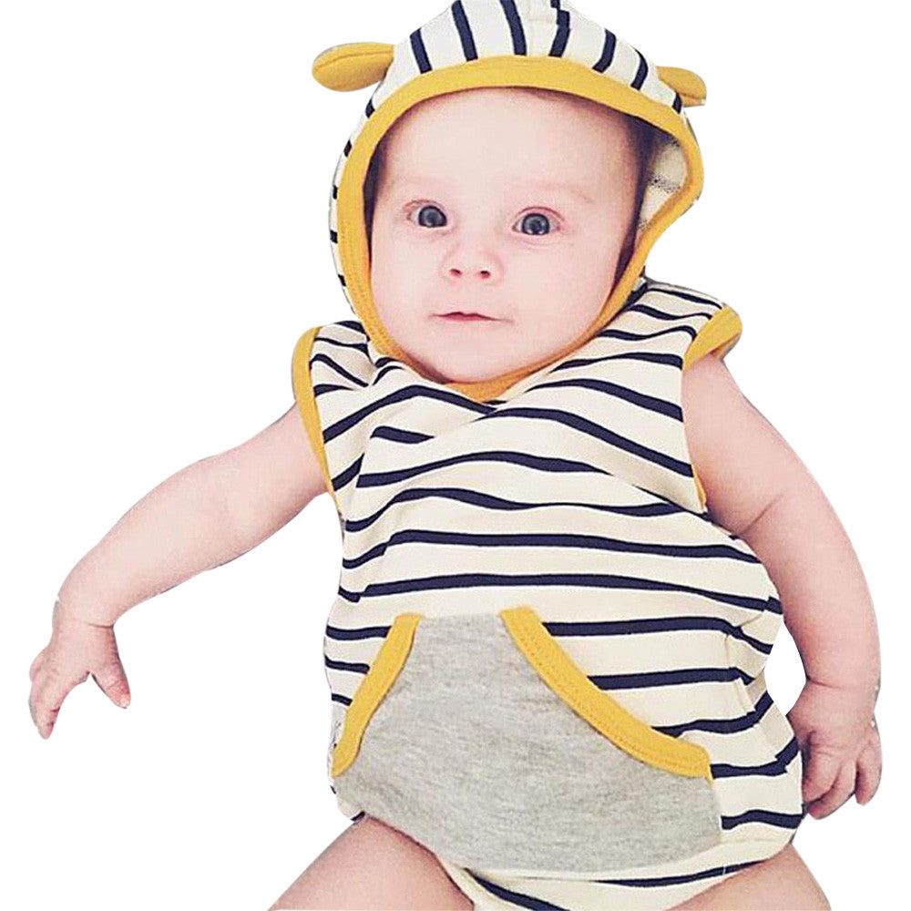2017 Newborn Baby Girl Boy Summer Hoodie Ear Vest Tops +Short Pants Babies kids Outfits Clothes Children Costume 2pcs Set Suit