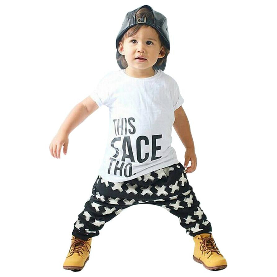 Tops + Harem Letter White Cotton Pants 2pcs Costume for Boys Clothes Sets 2017 Summer Baby Boy Clothing Toddler Casual T-shirt