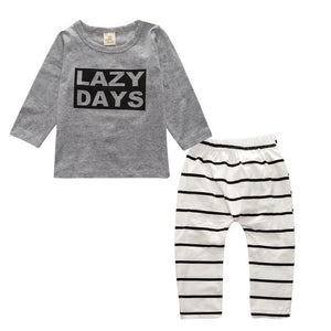 Spring Autumn Fashion 1Set Infant Toddler Kids Baby Boy Girl T-shirt Tops+Pants Outfits Clothes Printing children clothing set