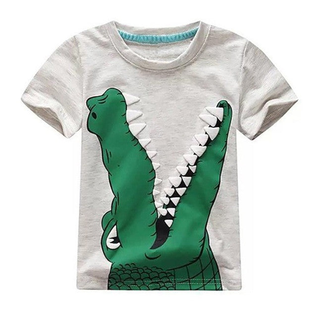 Boys Tops Summer 2017 Novelty Children T shirts Boys Clothes Kids Tee Shirt Fille Cotton Animal Pattern Print Baby Boy Clothing