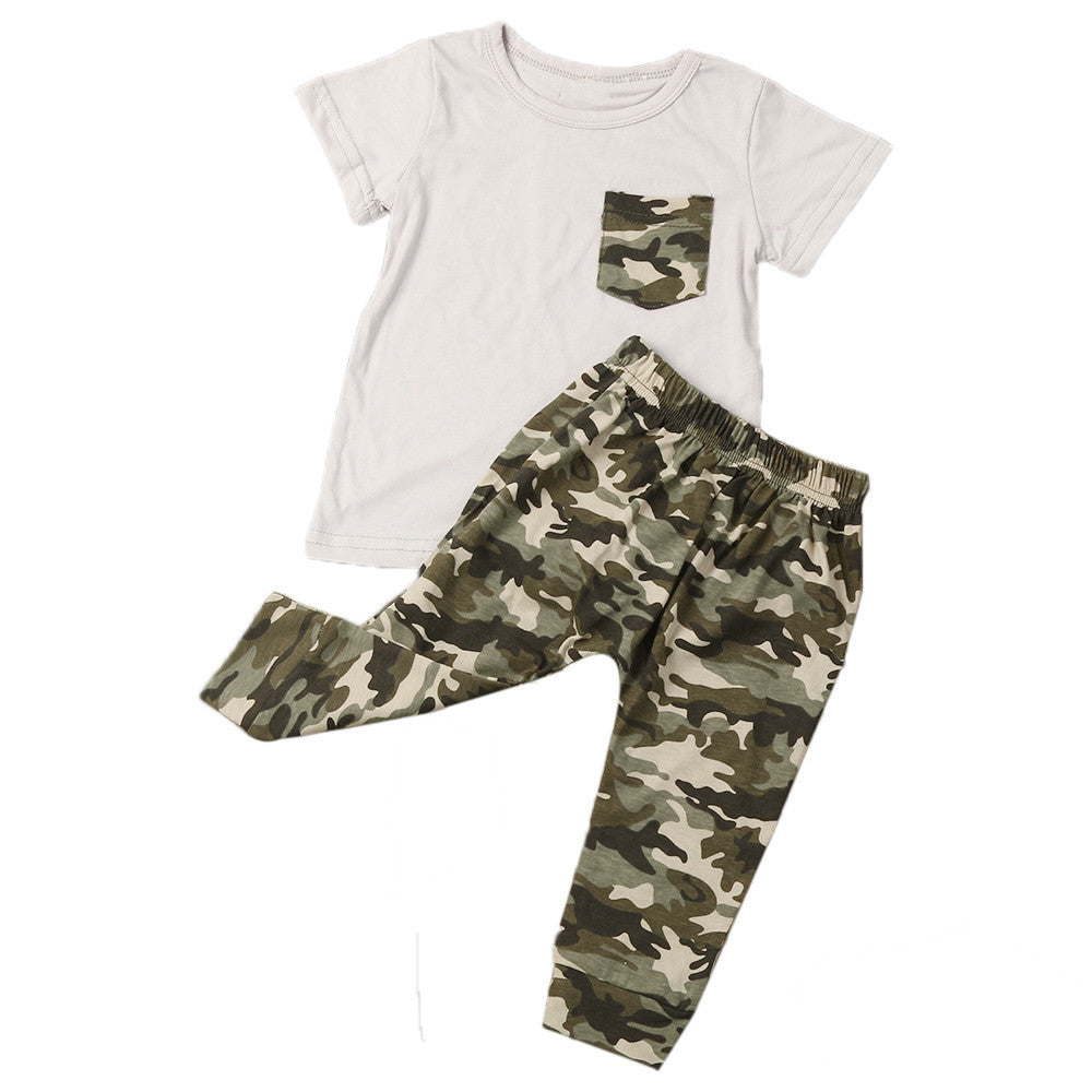 2017 New Style Summer Baby suits Legging pants Newborn Infant Summer Baby Boy T shirt Tops Camouflage Pants Outfits Clothes Set