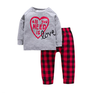 2Pcs 12M~5T 2017 Casual Toddler Boys Sets Grey Letter Long Sleeve Cotton T-shirt+Red Plaid Pants Autumn Baby Girls Clothes Sets