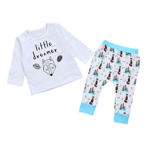 2017 Autumn Kids Boys Long Sleeve Tops T-shirt Pants Cute Animals 2PCs Toddler Baby Kids Boy Girl Cotton Clothes set New