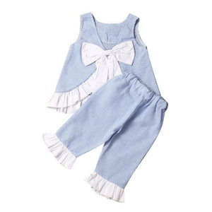 2017 Fashion Summer 2PCS Lace Kids Baby Girl Cute Bow Vest Tops + Shorts Pants Clothes puff Sleeves Outfits Set Size 1T-7T