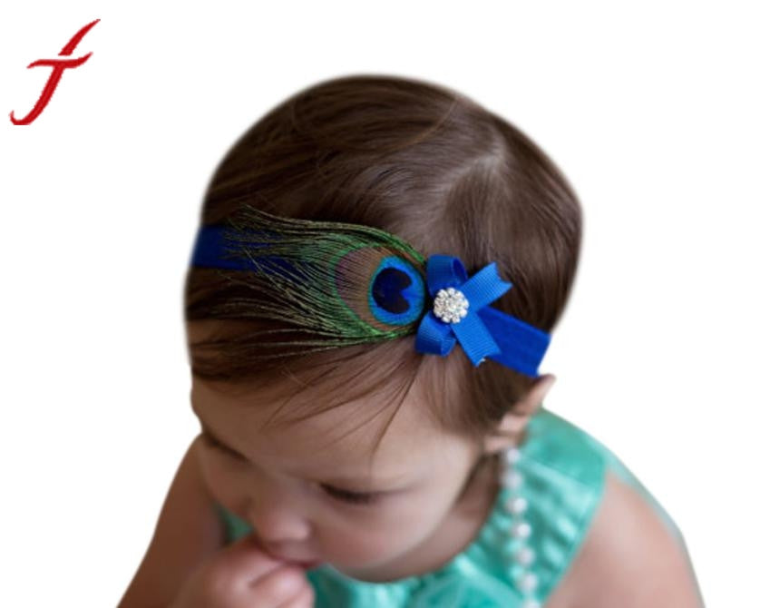 Hair Band Accessories Crystal Peacock Feathers 's Hair Band  Girl's Headwear Princess Crystal Pearl Hairband #LSN