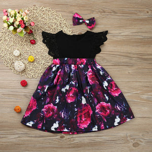 Summer dresses Kids Girl Floral Princess Dress+Headband Outfit Sister Clothes girls dresses children clothes Drop ship