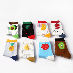 Women Size Healthy Fruits Short Socks Watermelon Pitaya Mango Avocado Pineapple Pear Apple Tomato Kiwi Stripes Dots Dropshipping