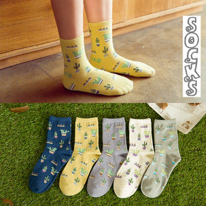 Women Size Cacti Socks Fashion Daily Plant Ball Cactus Lilac Lemon Fleshy Succulents Garden Home Soft Cotton Lady Dropshipping