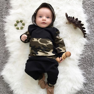 2Pcs Toddler Infant Baby Boy Clothes Set Camouflage Hooded Tops+Pants Outfits