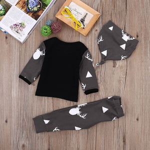 Newborn Baby Girl Boy Clothes Deer Tops T-shirt+Pants Leggings 3pcs Outfits Set