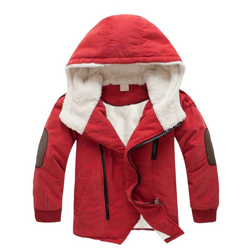 Children Jackets Boys Hooded With Fur Outerwear Warm Winter Jacket Clothing