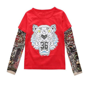 Summer t-shirt cotton boys clothes casual baby children clothing tattoo print long sleeve t shirts toddler kids top tees 1-5year