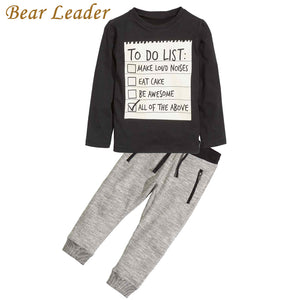 Bear Leader Baby boy clothes 2018 New Spring Dark Grey Long Sleeve t-shirt + casual long pants 2pcs suit kids clothes For 3-7Y