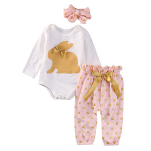 Newborn Infant Baby Boy Girl Romper Tops+Dot Pants+Headband Outfits Clothes Set