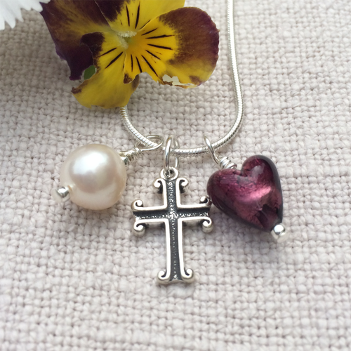 Three charm necklace in Sterling Silver with amethyst Murano glass heart, cross and pearl