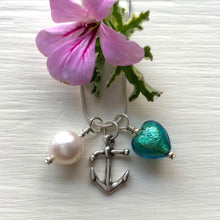 Three charm necklace in Sterling Silver with sea green Murano glass heart, anchor and pearl