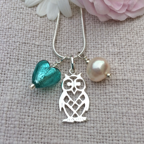 Three charm necklace in silver with teal (green, jade) heart and *20 charm options*