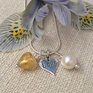 Three charm necklace in Sterling Silver with light (pale) gold heart and *20 charm options*