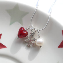 Three charm necklace in Sterling Silver with red Murano glass heart, snow flake and pearl