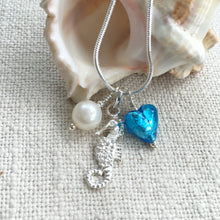 Three charm necklace in silver with turquoise (blue) heart and *20 charm options*