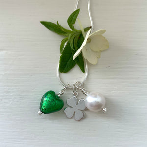 Three charm necklace in Sterling Silver with dark green (emerald) heart and *20 charm options*