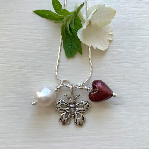 Three charm necklace in silver with dark amethyst heart and *20 charm options*