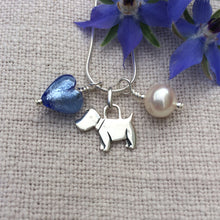 Three charm necklace in Sterling Silver with cornflower blue heart and *20 charm options*