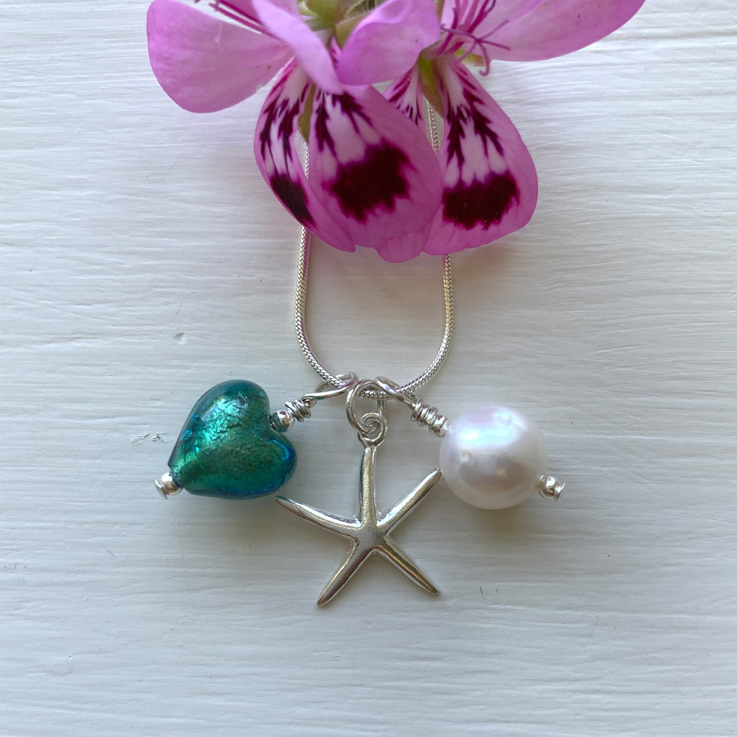 Three charm necklace in silver with sea green (jade, teal) heart and *20 charm options*
