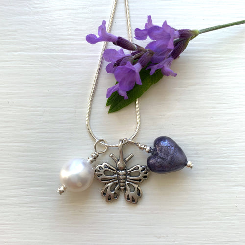 Three charm necklace in Sterling Silver with purple velvet heart and *20 charm options*