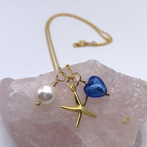 Three charm necklace in gold vermeil with aquamarine (blue) heart and *5 charm options*
