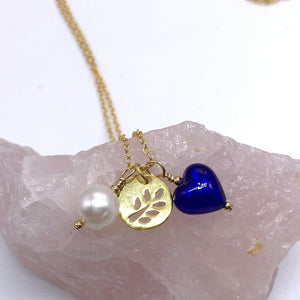 Three charm necklace in 22 Carat gold vermeil with dark blue (cobalt) heart and *5 charm options*