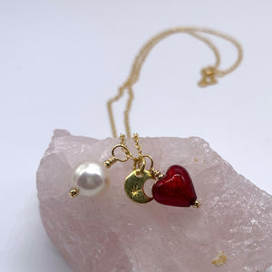 Three charm necklace in gold vermeil with sea green (jade) heart and *5 charm options*