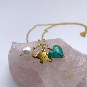 Three charm necklace in gold vermeil with teal (green, jade) heart and *5 charm options*
