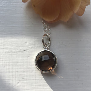 Gemstone necklace with smokey quartz (brown) crystal pendant on silver cable chain