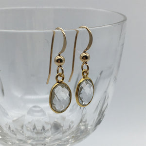 Gemstone earrings with clear quartz (rock crystal) crystal drops on silver or gold hooks