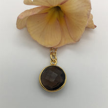 Gemstone necklace with smokey quartz (brown) crystal pendant on gold cable chain