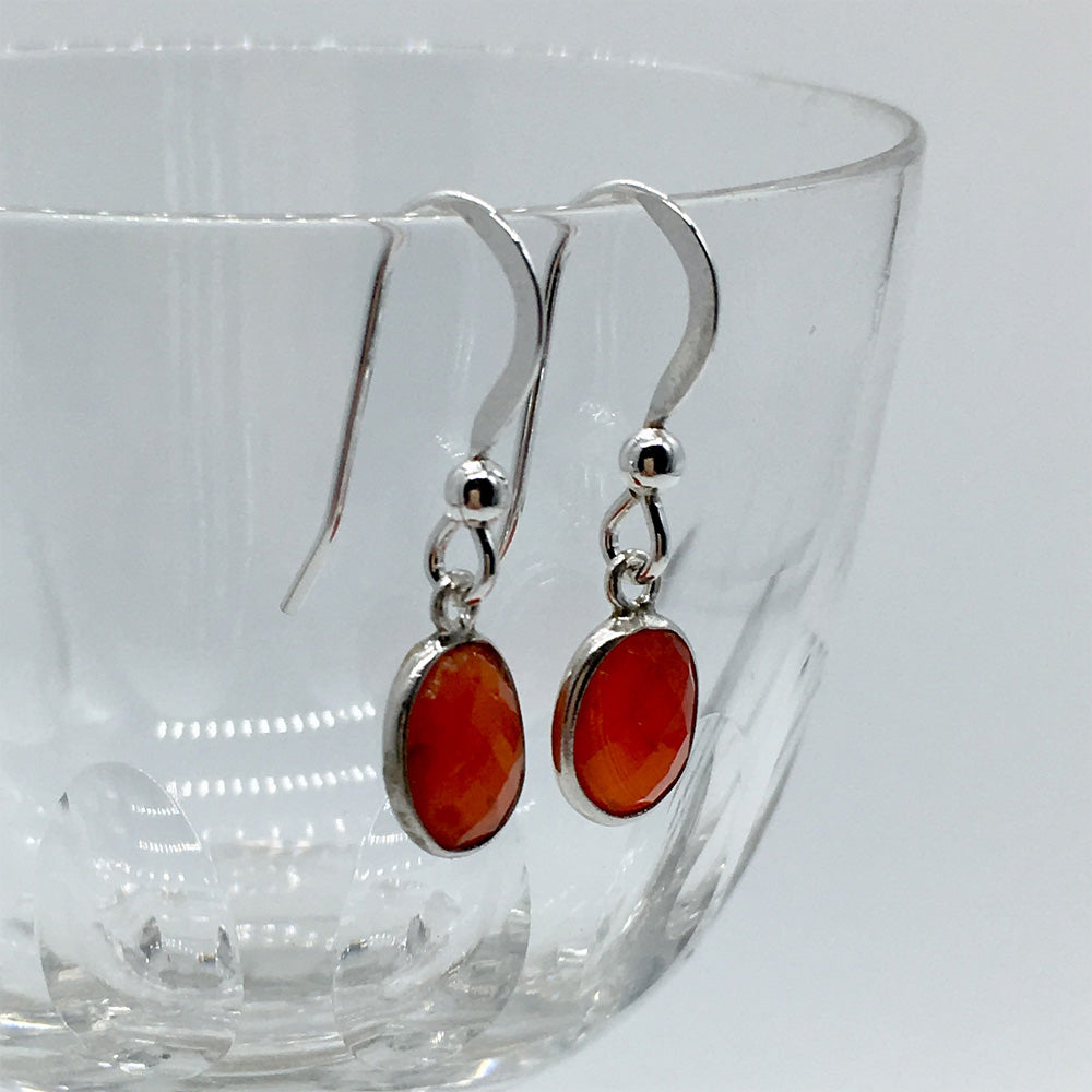 Gemstone earrings with carnelian (red) crystal drops on silver or gold hooks