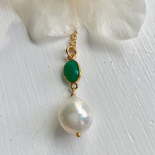 Gemstone necklace with green onyx crystal and large pearl pendant on gold cable chain