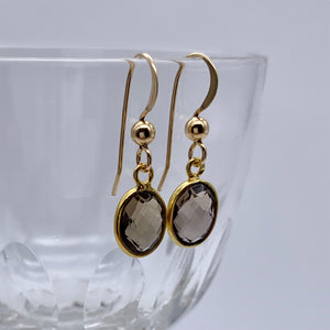 Gemstone earrings with smokey quartz (brown) crystal drops on gold hooks