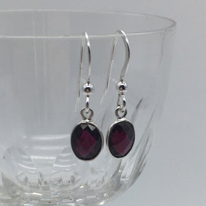 Gemstone earrings with garnet (red) crystal drops on silver or gold hooks