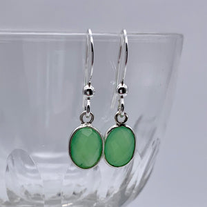 Gemstone earrings with chrysoprase (green) crystal drops on silver or gold hooks
