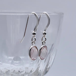 Gemstone earrings with rose quartz (pink) crystal drops on silver or gold hooks