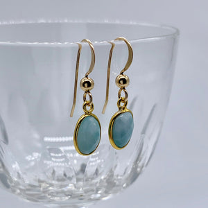 Gemstone earrings with larimar (aquamarine, blue, turquoise) crystal drops on gold hooks