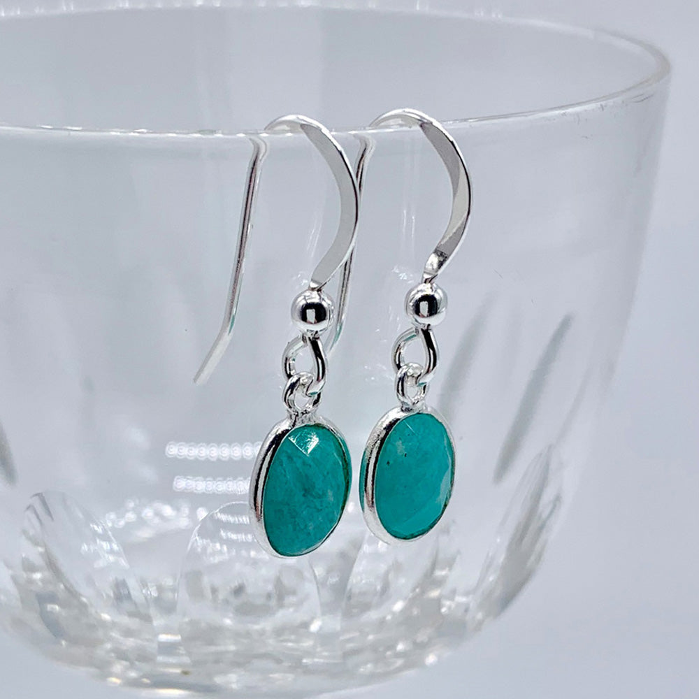 Gemstone earrings with amazonite (blue) crystal drops on silver or gold hooks